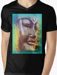 meditating buddha face Mens V-Neck T-Shirt