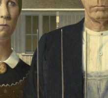 Vintage famous art - Grant Wood - American Gothic Sticker