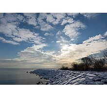 Brilliant Sunshine After the Snowstorm – a Winter Beach on Lake Ontario Photographic Print
