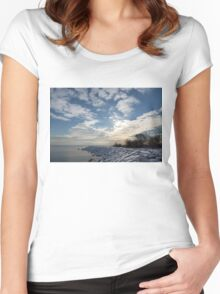 Brilliant Sunshine After the Snowstorm – a Winter Beach on Lake Ontario Women's Fitted Scoop T-Shirt
