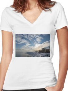 Brilliant Sunshine After the Snowstorm – a Winter Beach on Lake Ontario Women's Fitted V-Neck T-Shirt