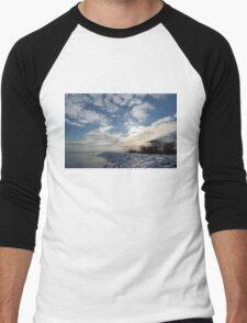 Brilliant Sunshine After the Snowstorm – a Winter Beach on Lake Ontario Men's Baseball ¾ T-Shirt