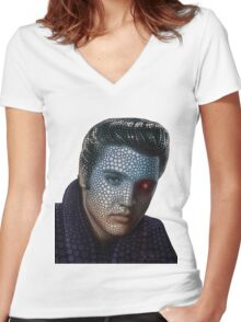 POP ART Elvis Women's Fitted V-Neck T-Shirt