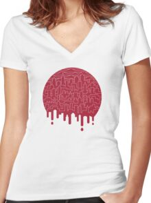Painted Red Women's Fitted V-Neck T-Shirt