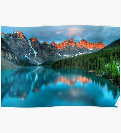 mountains reflected in lake Poster