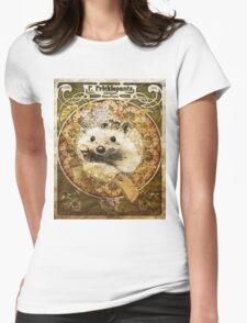 Cute Art Nouveau Hedgehog  Womens Fitted T-Shirt
