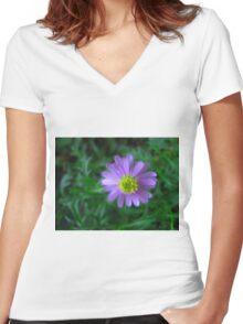 Purple Flower on Green Women's Fitted V-Neck T-Shirt