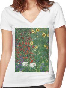 Gustav Klimt - Farm Garden With Flowers - Klimt- Landscape- Garden With Flowers Women's Fitted V-Neck T-Shirt