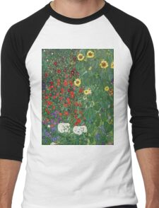 Gustav Klimt - Farm Garden With Flowers - Klimt- Landscape- Garden With Flowers Men's Baseball ¾ T-Shirt