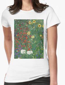 Gustav Klimt - Farm Garden With Flowers - Klimt- Landscape- Garden With Flowers Womens Fitted T-Shirt