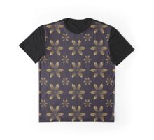 Gold & Dark Purple Floral Pattern Graphic T-Shirt