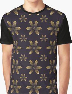 Gold & Dark Purple Floral Pattern Graphic T-Shirt