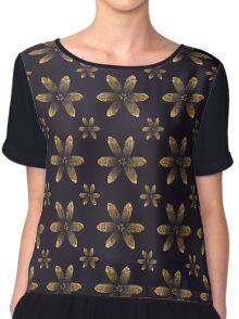 Gold & Dark Purple Floral Pattern Chiffon Top