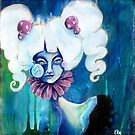 Lowbrow Art Marguerite Daisy woman with a Flower & Pill Cheek by Ela Steel