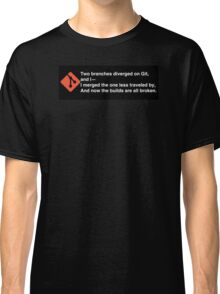 Two branches diverged on git (black bg) Classic T-Shirt