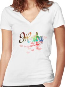 """Живи russian word """"live"""" with red hearts and cosmic glitter design Women's Fitted V-Neck T-Shirt"""
