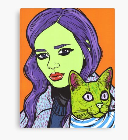 Girl with Cat Canvas Print