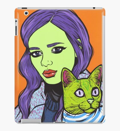 Girl with Cat iPad Case/Skin