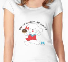 Don't worry, be happy- Yellow Women's Fitted Scoop T-Shirt
