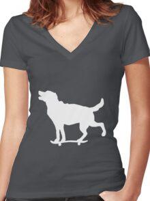 Skateboarding Dog Women's Fitted V-Neck T-Shirt