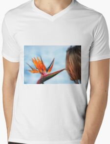Zen Flower Mens V-Neck T-Shirt
