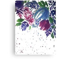 Watercolor Teal and Pink Flowers Canvas Print