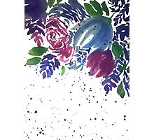 Watercolor Teal and Pink Flowers Photographic Print
