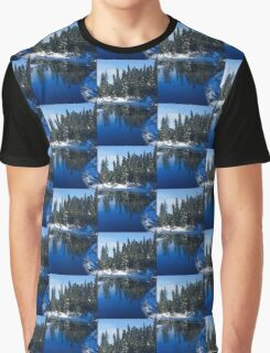Cool Blue Shadows - Riverbank Winter Forest Graphic T-Shirt