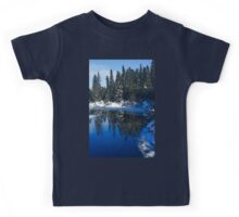 Cool Blue Shadows - Riverbank Winter Forest Kids Tee