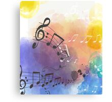 Watercolor Musical Note Symbols Canvas Print