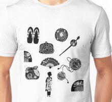 Kimono Girl - White & Black Unisex T-Shirt
