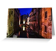 Impressions of Venice - Wandering Around the Small Canals at Night Greeting Card