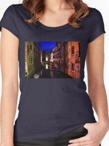 Impressions of Venice - Wandering Around the Small Canals at Night Women's Fitted Scoop T-Shirt