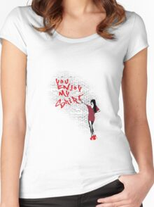 You Enjoy My Shirt Graffiti Fishman Pattern Women's Fitted Scoop T-Shirt