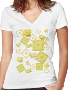 Yellow Rose Boquet Women's Fitted V-Neck T-Shirt