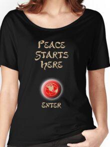 Peace Button Shirt Women's Relaxed Fit T-Shirt