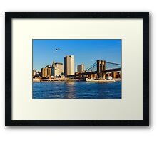 Sailing Under the Brooklyn Bridge - Impressions Of Manhattan Framed Print