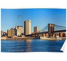 Sailing Under the Brooklyn Bridge - Impressions Of Manhattan Poster