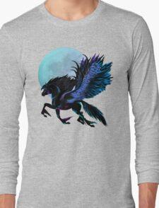 Black Pegasus and Blue Moon Long Sleeve T-Shirt