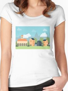 Minimalist Cityscape Women's Fitted Scoop T-Shirt
