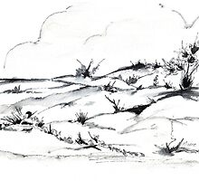 Dunes ink sketch by Maree Clarkson
