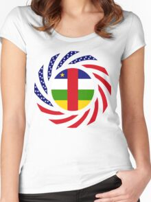 Central African Republic American Multinational Patriot Flag Series Women's Fitted Scoop T-Shirt