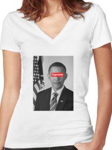Supreme Obama Women's Fitted V-Neck T-Shirt