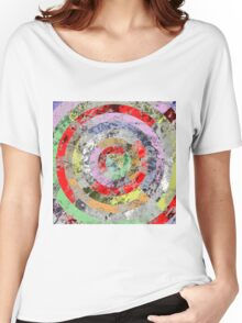 Marble Bullseye - Abstract Geometric Marble Patterned Art Women's Relaxed Fit T-Shirt