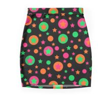 Bright geometric abstract elements seamless pattern on black Mini Skirt