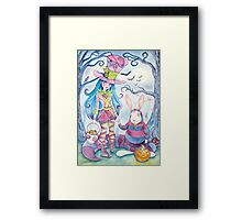 Alice and the White Rabbit, dressed as the Hatter and the Cheshire Cat for Halloween Framed Print