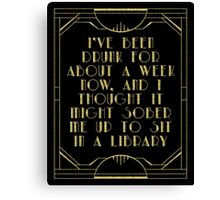 Sobering up in a library Canvas Print