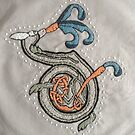 Celtic Rabbit Letter D French knot Embroidery by Donna Huntriss