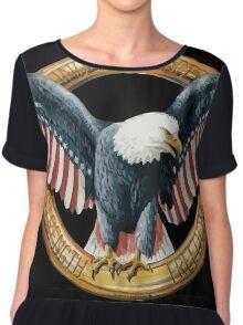 Bald Eagle. USA FLAG PATRIOTIC Chiffon Top