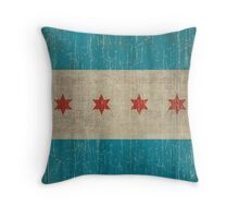 Chicago flag distressed Throw Pillow
